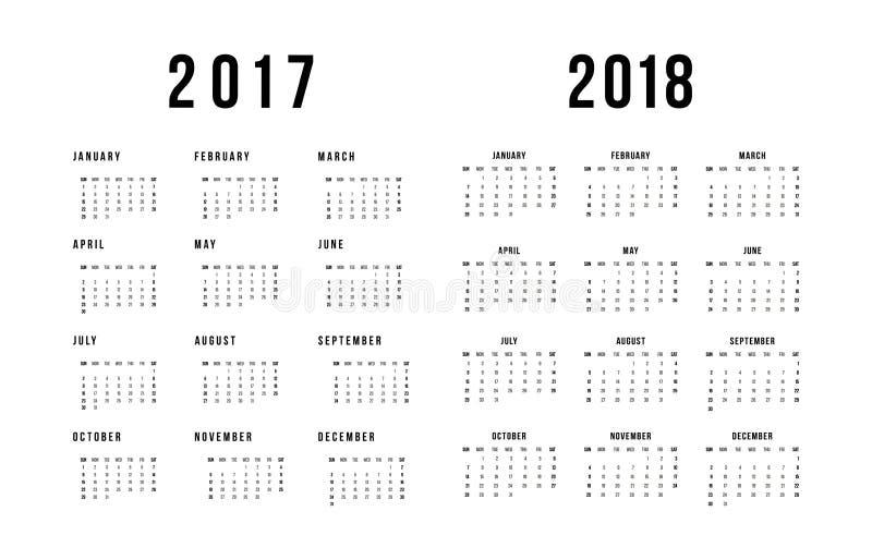 Calendrier simple pour 2017 et 2018 sur le fond blanc illustration de vecteur