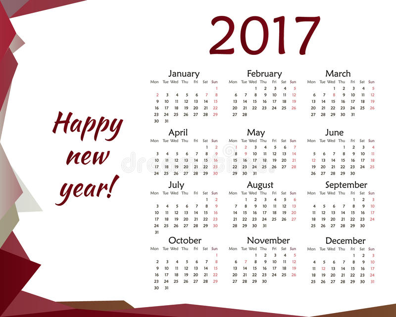 Calendrier simple pour le vecteur de 2017 ans illustration libre de droits