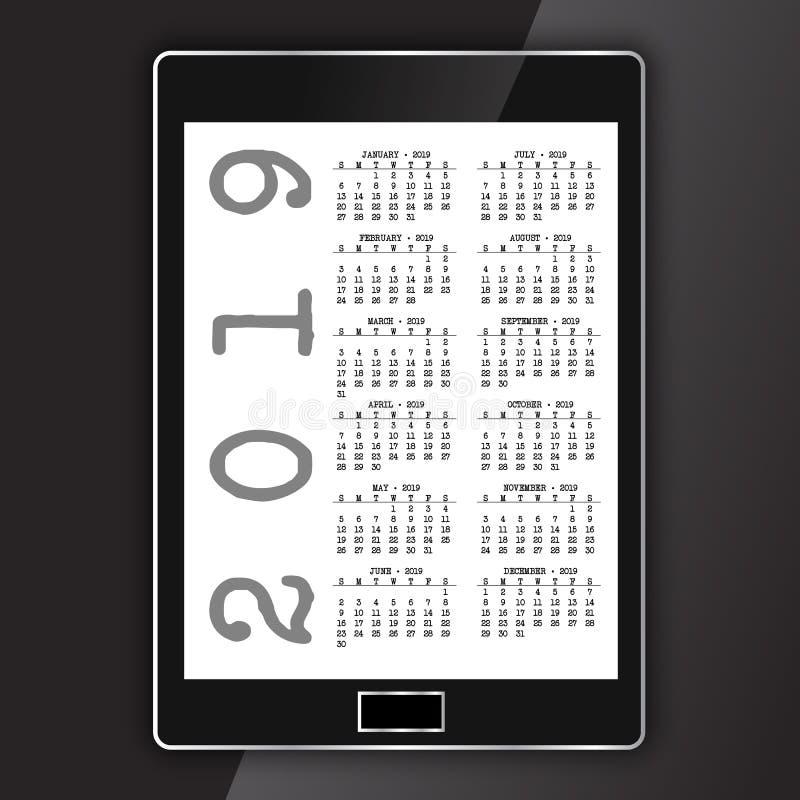 Calendrier sur le comprimé électronique générique illustration stock