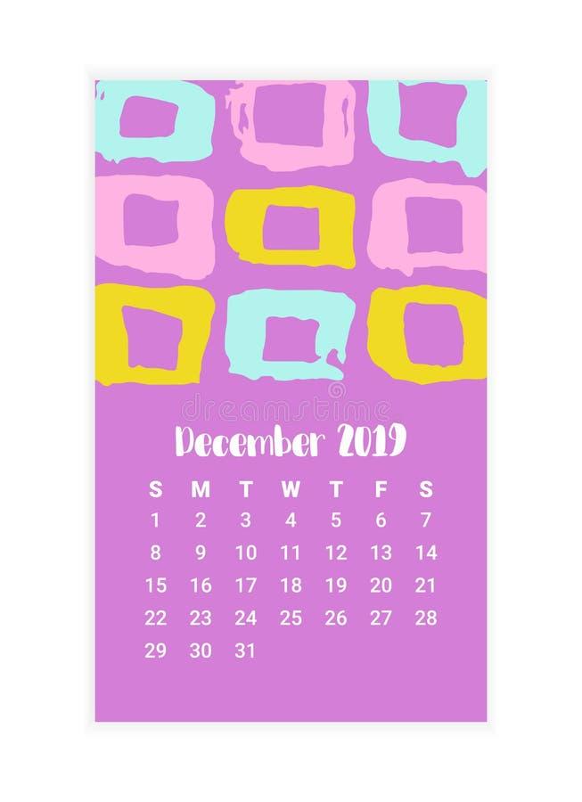 Calendrier tiré par la main 2019, conception de l'avant-projet de mois de décembre Illustration de vecteur illustration de vecteur