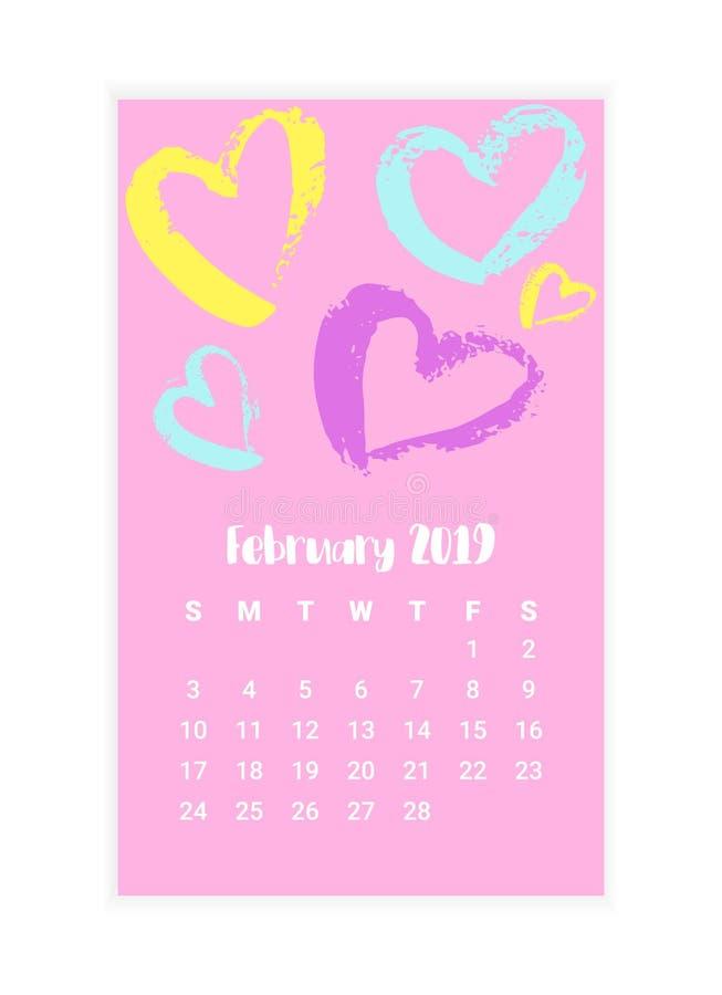 Calendrier tiré par la main 2019, conception de l'avant-projet de mois de février Illustration de vecteur illustration stock
