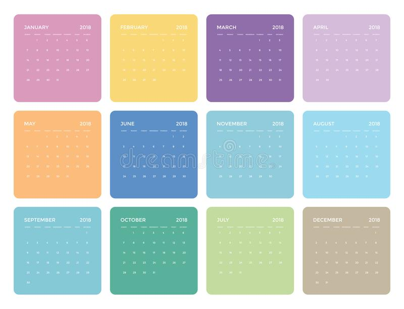 Calendrier universel coloré simple pour 2018 illustration de vecteur