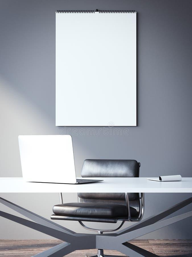 Calendrier vide sur le mur sur le lieu de travail rendu 3d illustration libre de droits