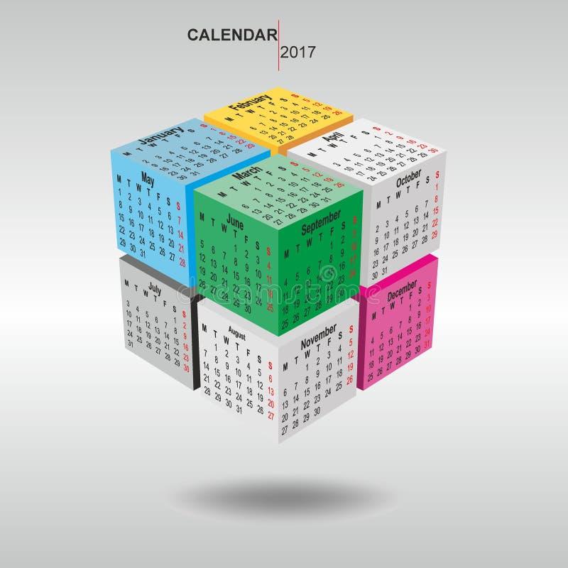 Calendrier 2017, visages d'un cube image libre de droits