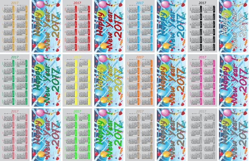 Calendriers colorés réglés de poche pour 2017 illustration stock