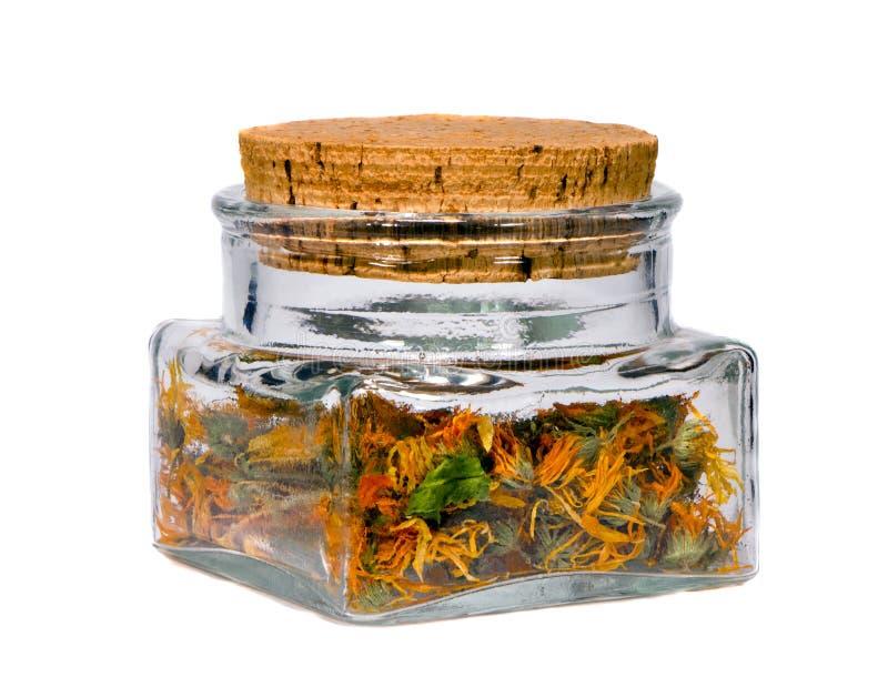 Calendula ecologico del tè di erbe fotografie stock