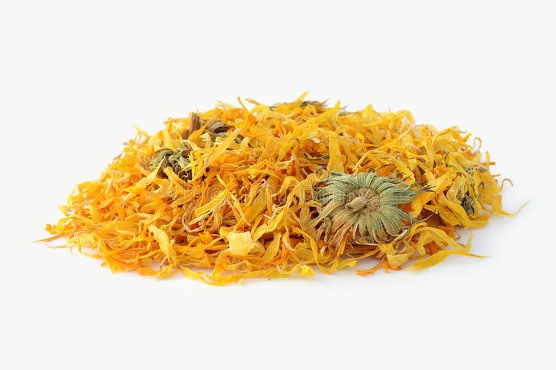 Calendula flower tea isolated on the white background royalty free stock photography