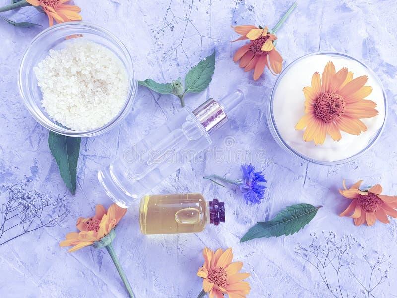 Calendula naturel de fleur cosmétique crème sur un fond concret gris photographie stock libre de droits