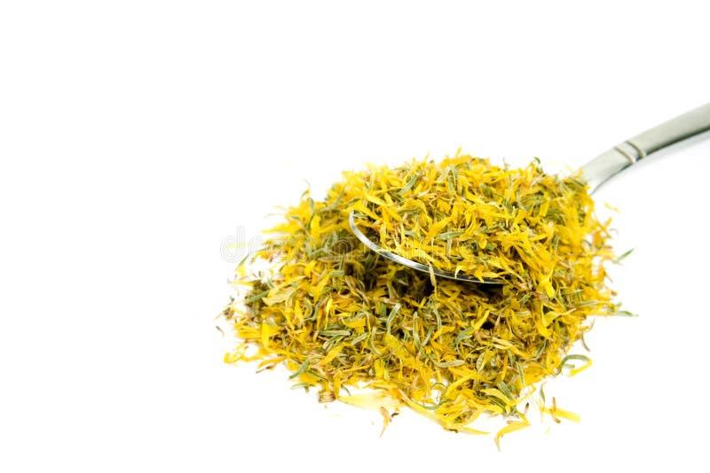 Calendula (pot marigold) tea. A spoon full of calendula (pot marigold) tea stock photo