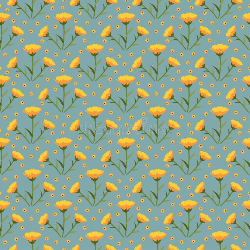 Calendulas kwiatu wektoru wzoru połówki kropli powtórki bezszwowy typ tło royalty ilustracja