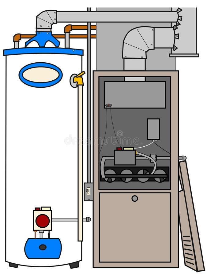 Calentador del horno y de agua ilustración del vector