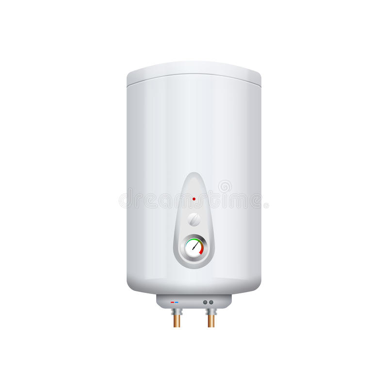 Calentador del termo del vector aislado en blanco Aparato de la caldera Dispositivo nacional de la hornilla de la ebullición ilustración del vector