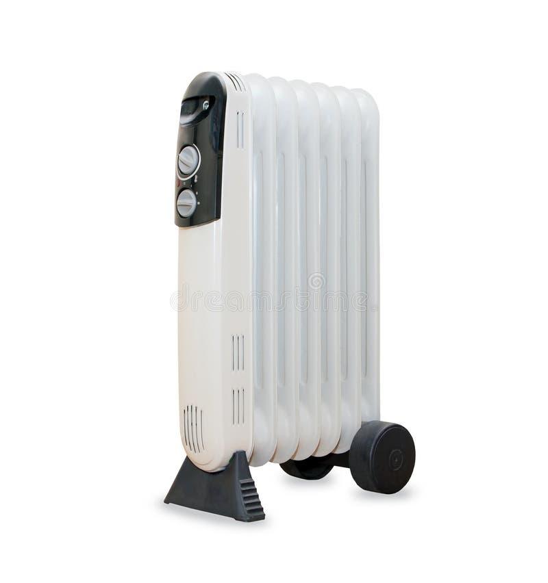 Calentador eléctrico del radiador del aceite isolaited sobre blanco imágenes de archivo libres de regalías