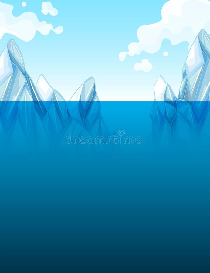 Calentamiento del planeta con el iceberg stock de ilustración