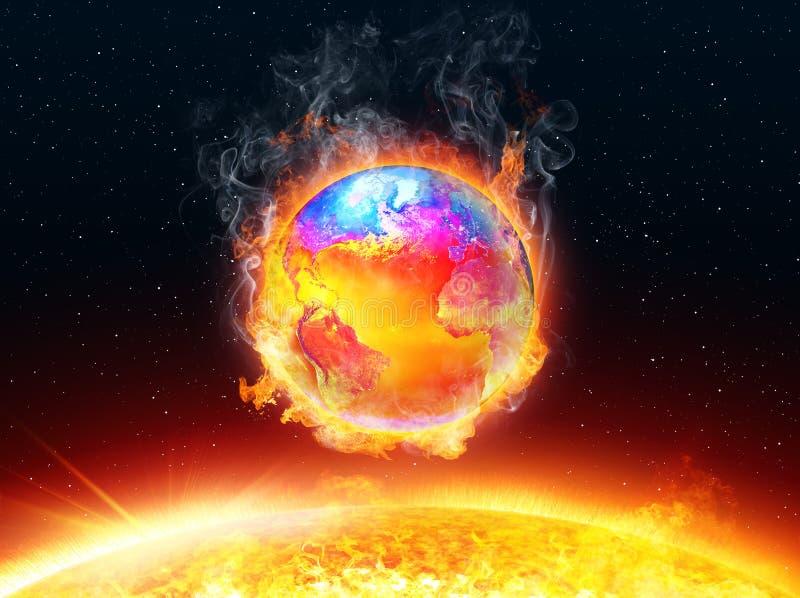 Calentamiento del planeta - temperatura de la tierra y del océano ilustración del vector