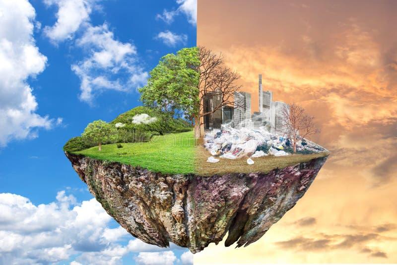 Calentamiento del planeta y basura humana, concepto de la contaminación - Sustainabili imagen de archivo