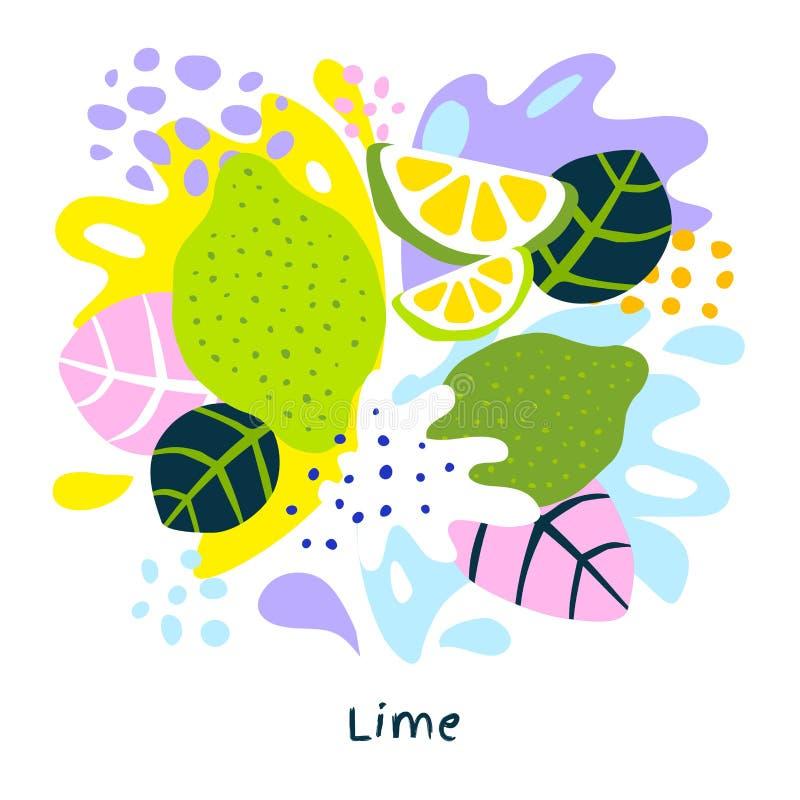 Cales jugosas de la salpicadura de la cal de los agrios del jugo del alimento biológico exótico tropical fresco del chapoteo en f libre illustration
