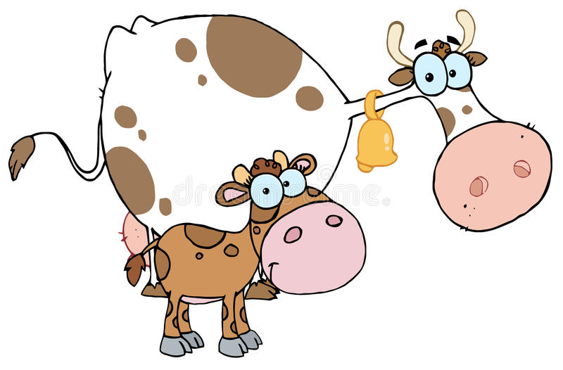 Download Calf by a mom dairy cow stock vector. Image of drawing - 16161310