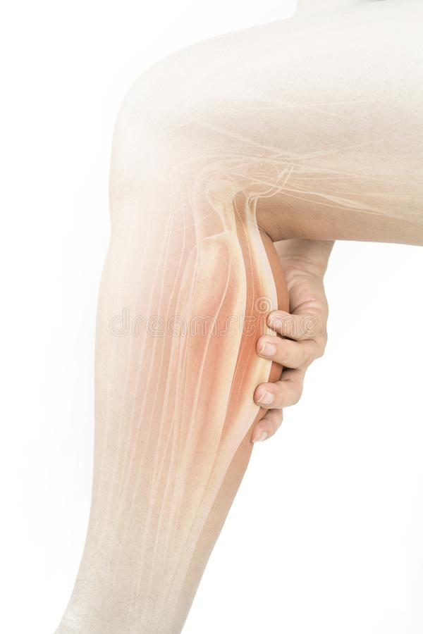 Calf muscle pain. White calf swelling background royalty free stock photography