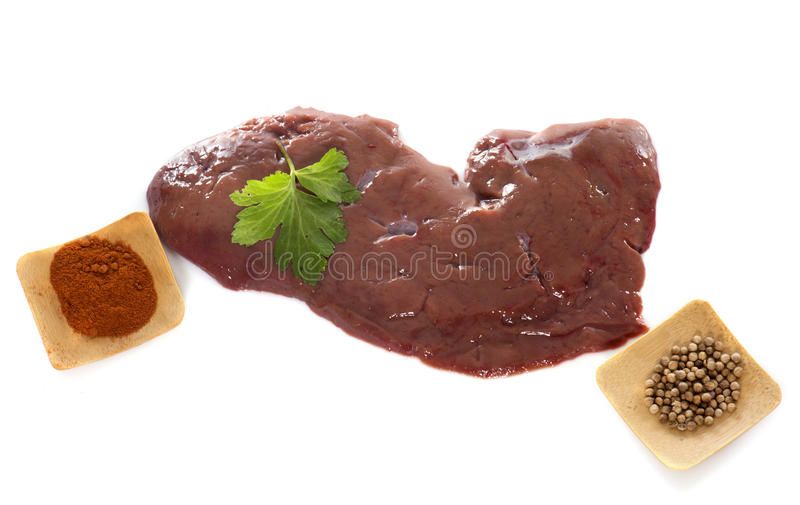 Calf's liver and parsley royalty free stock image