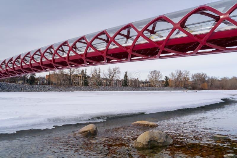 CALGARY, ALBERTA, CANADÁ - 19 DE MARZO DE 2013: El puente de la paz sobre el río congelado del arco en Calgary céntrica, Alber imagen de archivo libre de regalías
