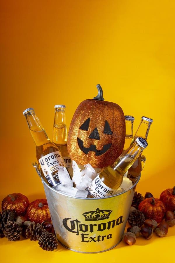 Calgary Alberta, Canada. September 20, 2019. A bucket of icy Corona bottle beers with halloween pumpkins. And halloween ornaments stock photo