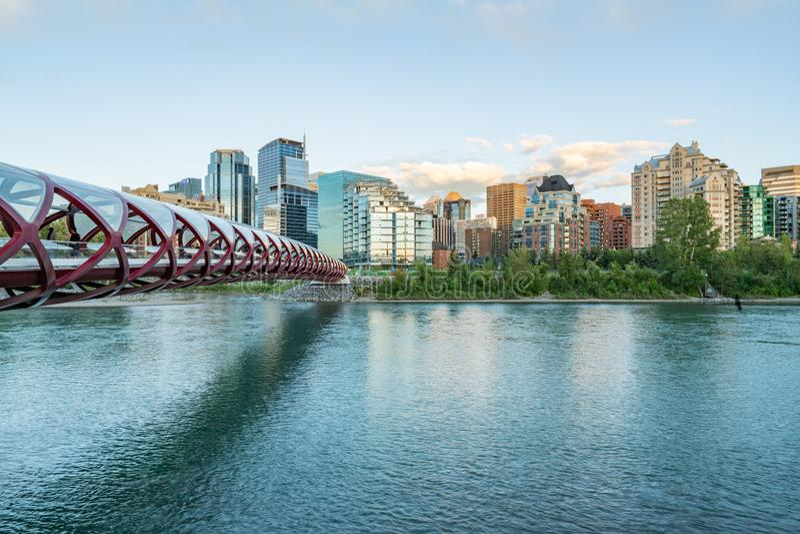 Calgary, Alberta City Skyline and Peace Bridge royalty free stock photos