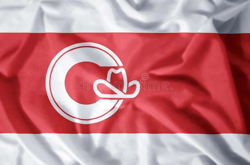Calgary Alberta. Stylish waving and closeup flag illustration. Perfect for background or texture purposes stock illustration