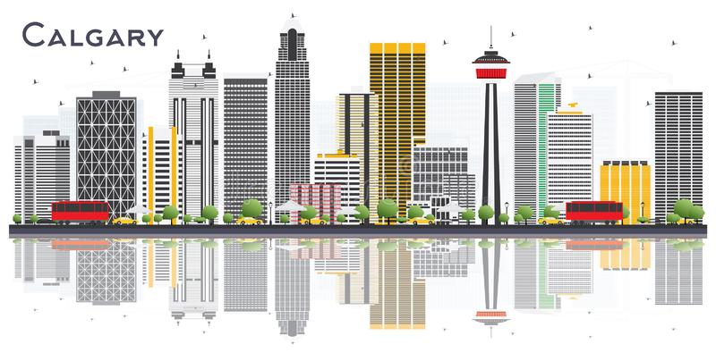 Calgary Canada City Skyline with Gray Buildings and Reflections. On White Background. Vector Illustration. Business Travel and Tourism Concept with Modern royalty free illustration