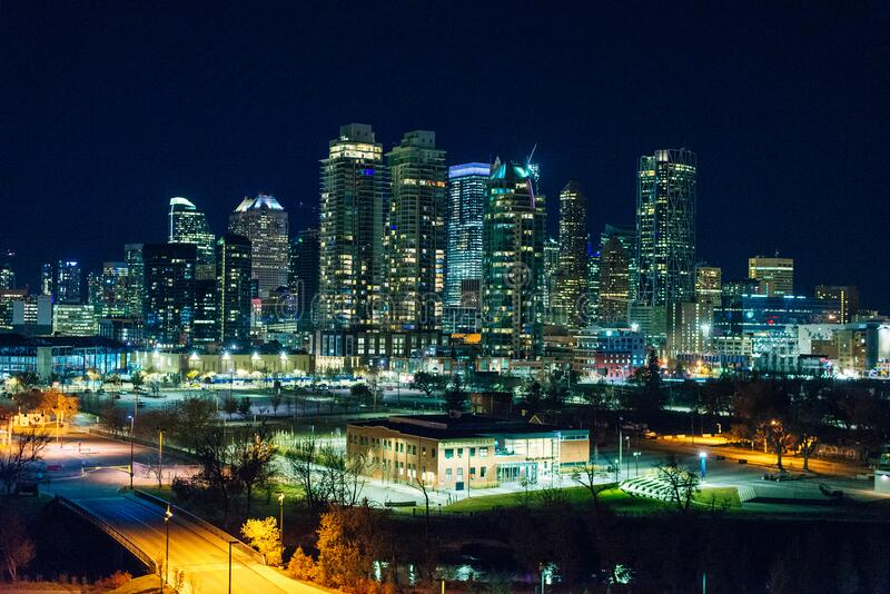 CALGARY, CANADA - dec, 2019 Night view of Calgary skyline.  stock image
