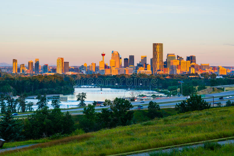 Calgary Canada. Skyline at sunrise stock photography