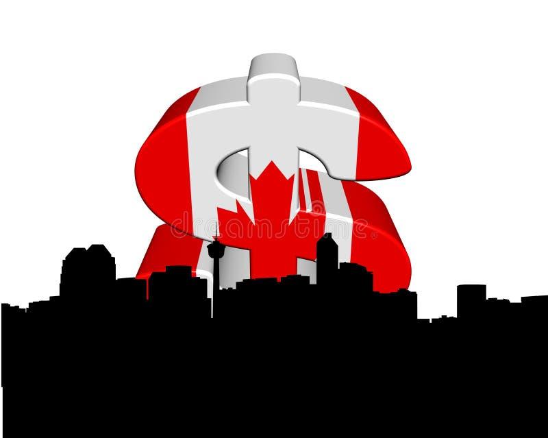 Calgary with Canadian flag dollar. Calgary skyline with Canadian flag dollar symbol illustration royalty free illustration