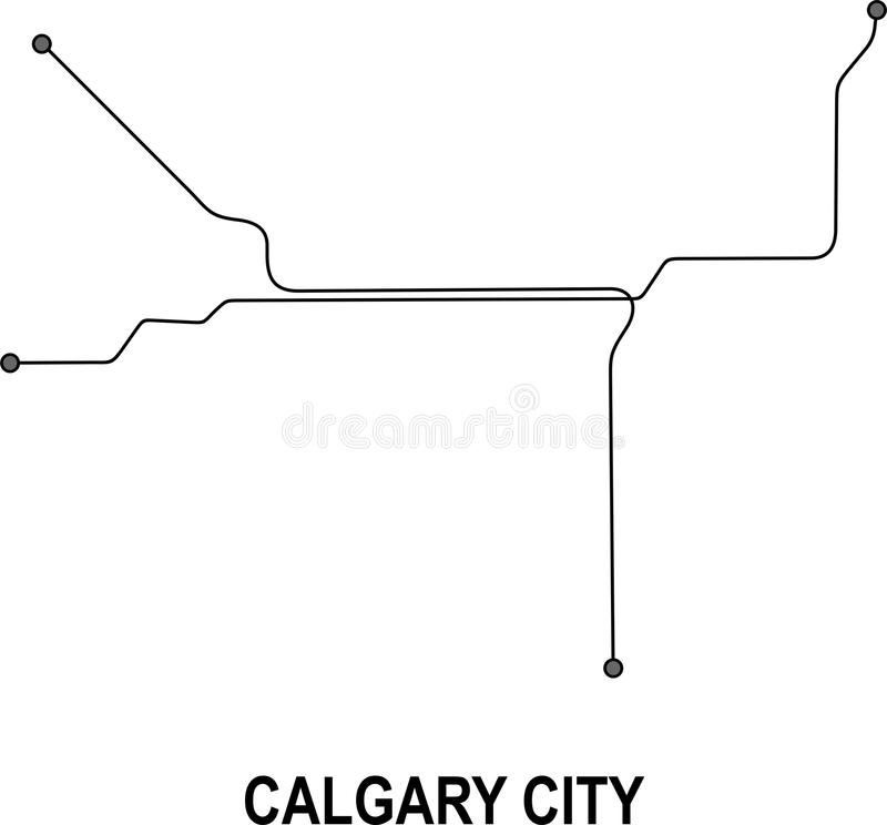 Calgary City map. Calgary subway map available in vector file format stock illustration