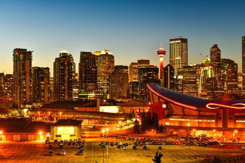 Calgary city skyline in Alberta ,Canada. Calgary city skyline at twilight time, Alberta,Canada stock photo