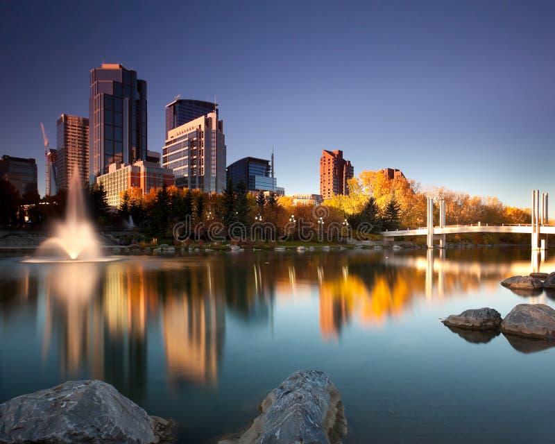 Calgary de stad in stock fotografie