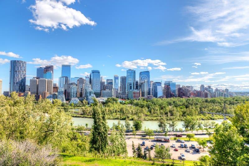 Calgary Downtown Skyline in Summer royalty free stock photos