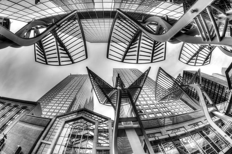 Calgary Downtown Skyscrapers on Stephen Avenue. Black and white rendering of Calgary's downtown skyscrapers along Stephen Avenue, a popular pedestrian mall on 8 royalty free stock images
