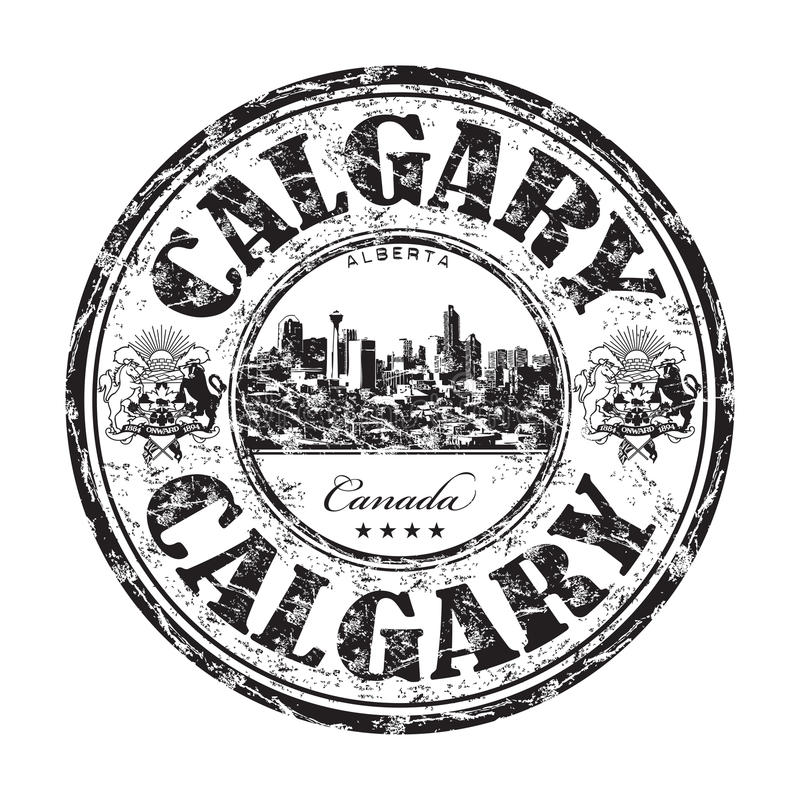 Calgary grunge rubber stamp. Black grunge rubber stamp with the name of Calgary city from Canada written inside the stamp vector illustration