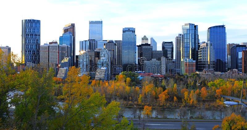 Calgary, Kanada centrum miasta przy zmierzchem fotografia stock