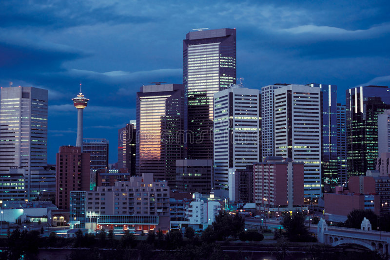 Calgary @ night. Downtown of Calgary, Alberta, Canada royalty free stock image