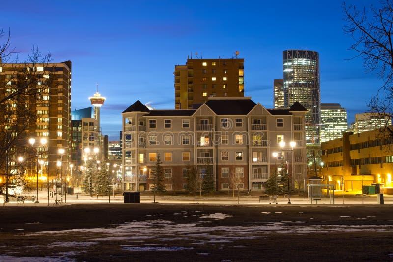 Calgary at night royalty free stock photos