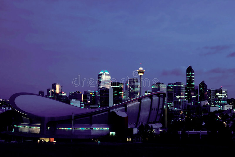 Calgary at night. Downtown of Calgary, Alberta, Canada royalty free stock photo