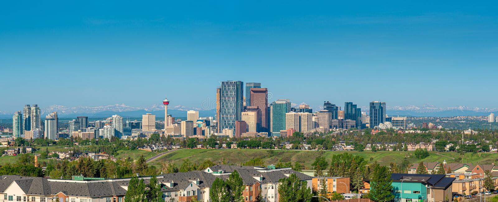 Calgary - panorama of city stock images