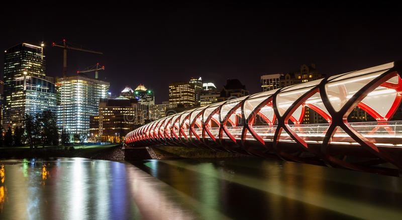 Calgary Peace Bridge Over the Bow River stock photo
