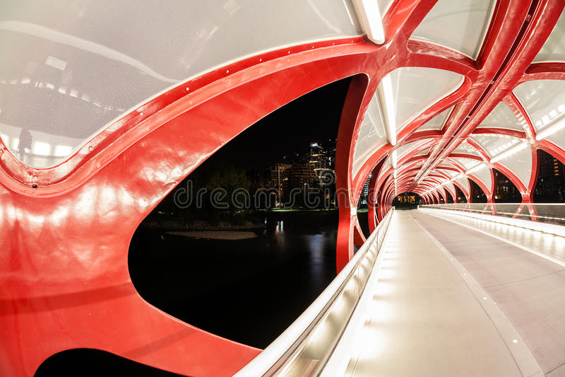 Calgary Peace Bridge Over the Bow River royalty free stock photography