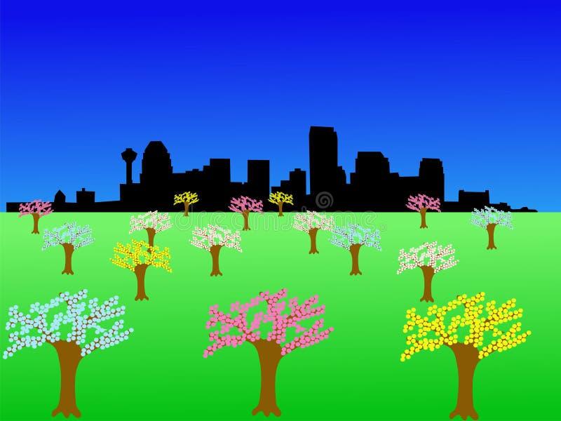 Calgary Skyline. With springtme blossom on trees illustration vector illustration