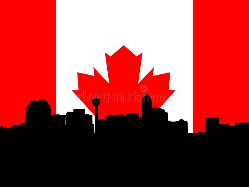 Calgary skyline. Against Canadian Flag illustration vector illustration