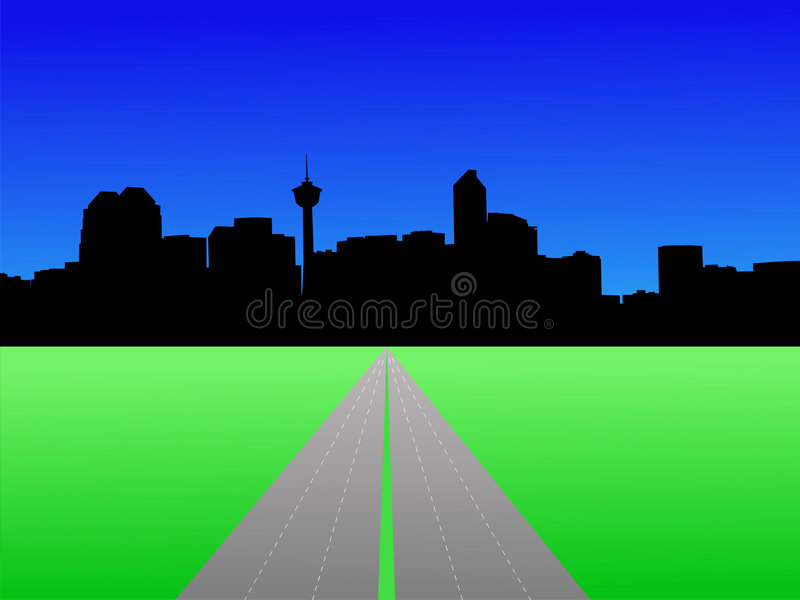 Calgary skyline. With deserted freeway illustration vector illustration