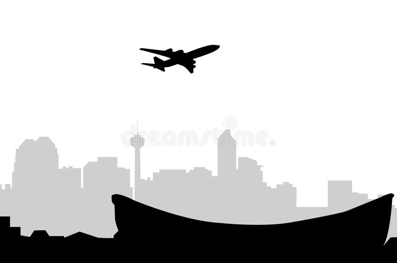 Calgary Skyline & Aeroplane -Vector. Calgary Skyline & Aeroplane is a vector illustration vector illustration