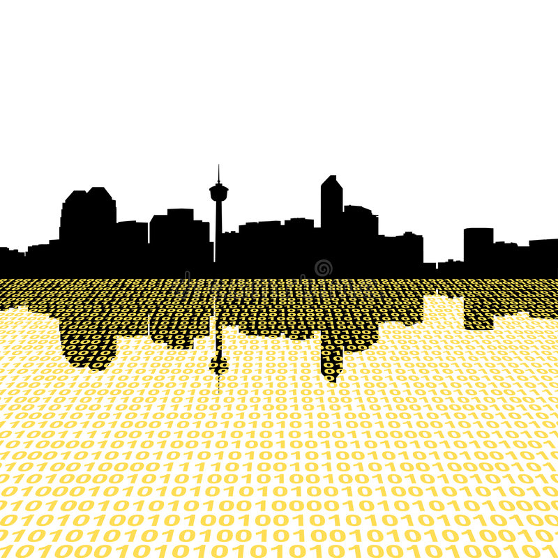 Calgary skyline with binary. Perspective foreground royalty free illustration